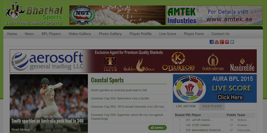 Sports Portal with Live Scoring and Live Video